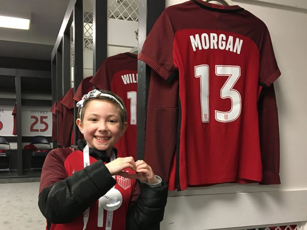 PHOTO: Ashlyn Brysiak, 9, was granted a wish by Make-A-Wish to meet the members of the U.S. womens national soccer team.