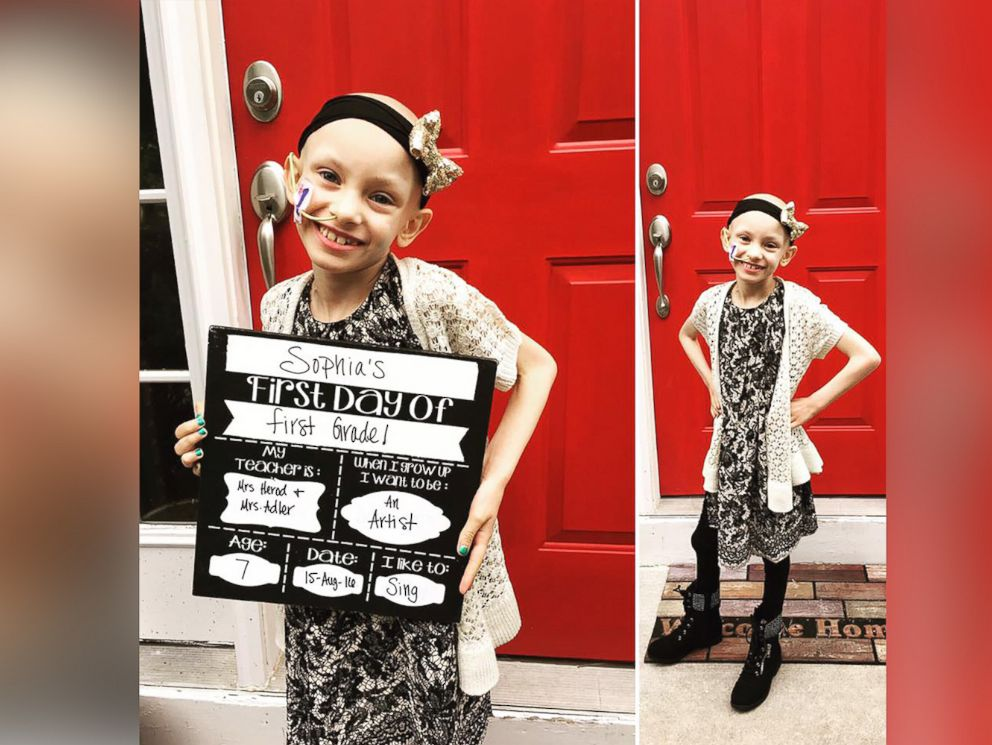 PHOTO: Sophi Eber, 7, seen in a August 15, 2016 photo on her first day of school as a first grader.