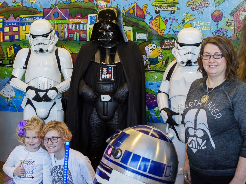 PHOTO: Zoe Pedicone, 4, was greeted by her favorite Star Wars characters on Dec. 23 just moments before being adopted by her new mom, Deanna Pedicone of Newark, Delaware.