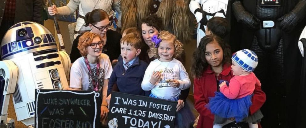 """PHOTO: Zoe Pedicone, 4, was greeted by her favorite """"Star Wars"""" characters on Dec. 23 just moments before being adopted by her new mom, Deanna Pedicone of Newark, Delaware."""