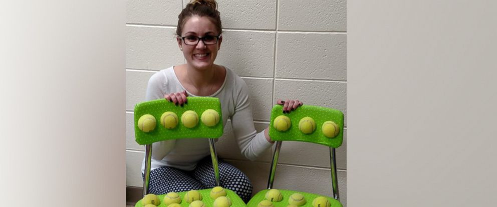 PHOTO: Speech-language pathologist Amy Maplethorpe created two tennis ball chairs to help autistic students with sensory issues in her classroom at Raymond Ellis Elementary School.