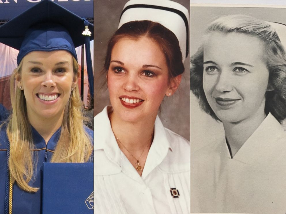 PHOTO: From left, Christina Harms, Sue Hoekstra and Mary Lou Wilkins are seen in each of their nursing graduation photos.