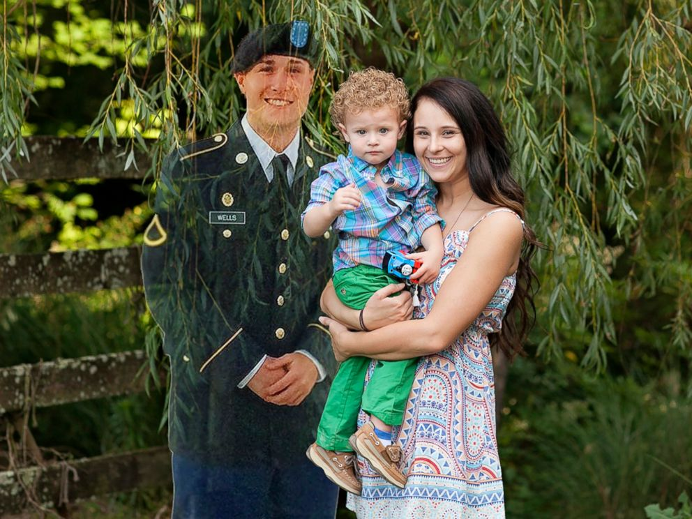 PHOTO: Danielle Ogle, seen in an undated photo with her son, Braxton Wells, 2 and Braxtons late father Cody Wells, 23, who is digitally photoshopped into this image.