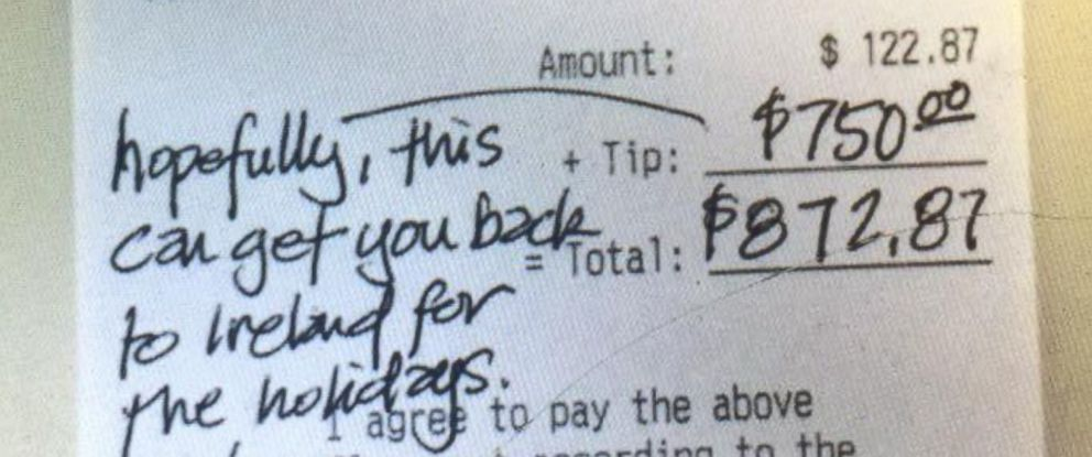 PHOTO: Ben Millar, a waiter in Houston, received a $750 tip on a $122.87 tab on Nov. 18, 2016.