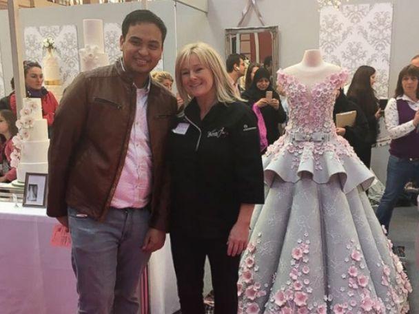 PHOTO: Emma Jayne Cake Design created this cake replica of a real-life Mak Tumang wedding dress using 132 pounds of fondant.