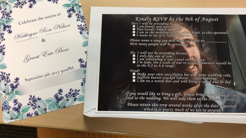 Grant Boro of Oregon made unconventional wedding RSVPs featuring a photo of Nicolas Cage with hilarious options to reply.