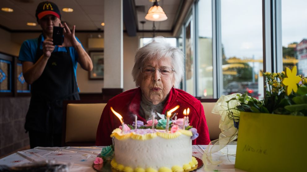 Nadine Baum Blows Out The Candles On Her Birthday Cake Oct 13 2016