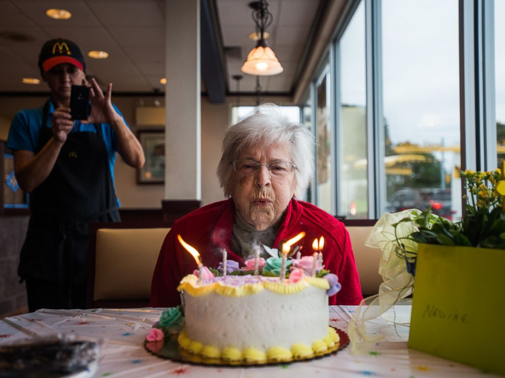 PHOTO: Nadine Baum blows out the candles on her birthday cake, Oct. 13, 2016, at the south Hanover McDonalds during a 100th birthday celebration for the Hanover centenarian.