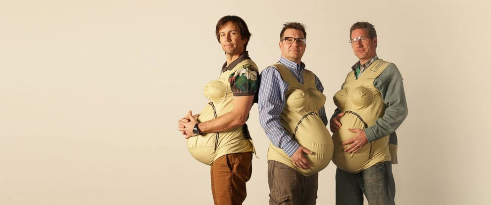 """PHOTO: From left, Jonny, Steve and Jason, all wearing """"empathy bellies"""" as part of the """"Three Pregnant Dads"""" monthlong project."""