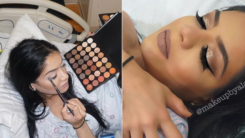 Alaha Karimi, 27, did her makeup in between contractions while in labor on Feb. 15, 2016.