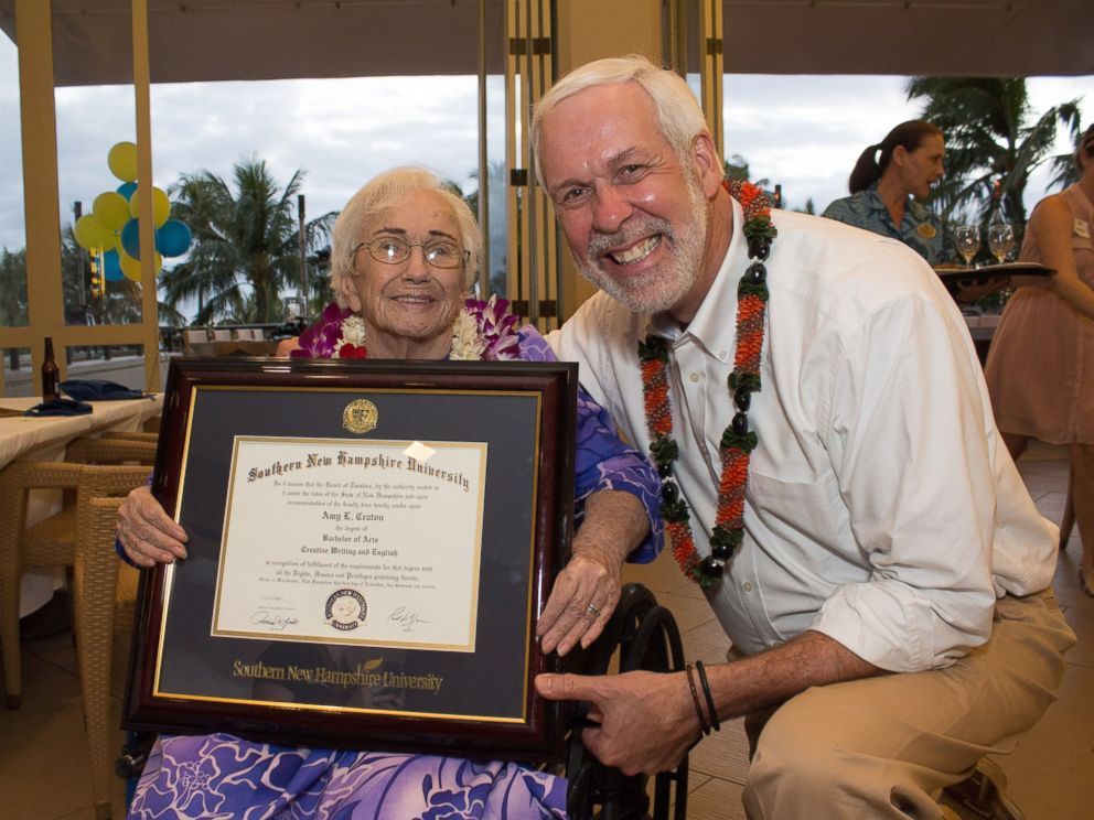 PHOTO: Amy Craton, a 94-year-old graduate of Southern New Hampshire University, with the schools president, Paul LeBlanc.