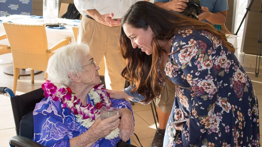 Amy Craton, a 94-year-old graduate of Southern New Hampshire University, with her academic advisor, Chrisandra Bauer.