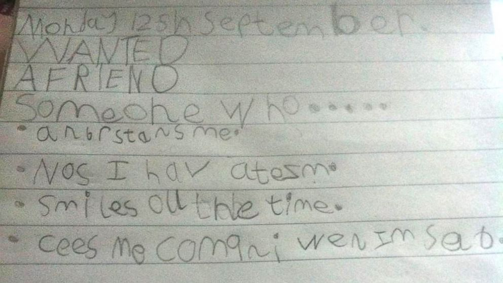 7-year-old Molly-Raine Adams, who has autism, was asked to list what qualities a friend should have.