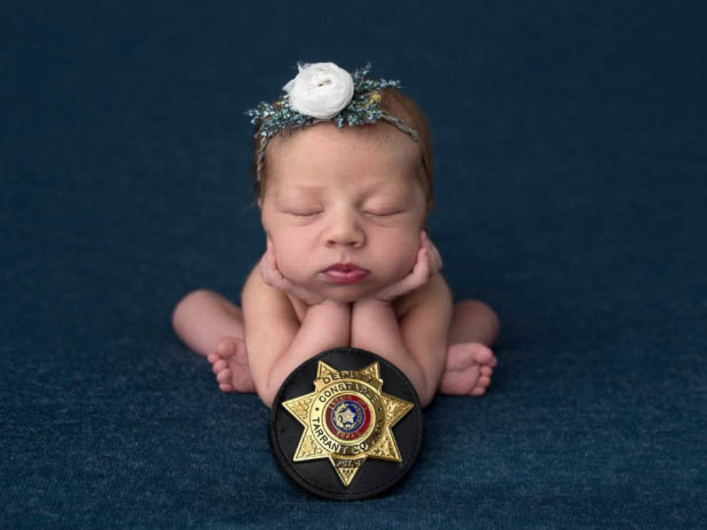 PHOTO: Evelyn Joy Deborah Hall was born on July 18 in Texas after Officer Mark Diebold of the Tarrant County police helped deliver the newborn for parents Destiny and Caleb Hall of Granbury, Texas, after Destiny went into labor en route to the hospital.