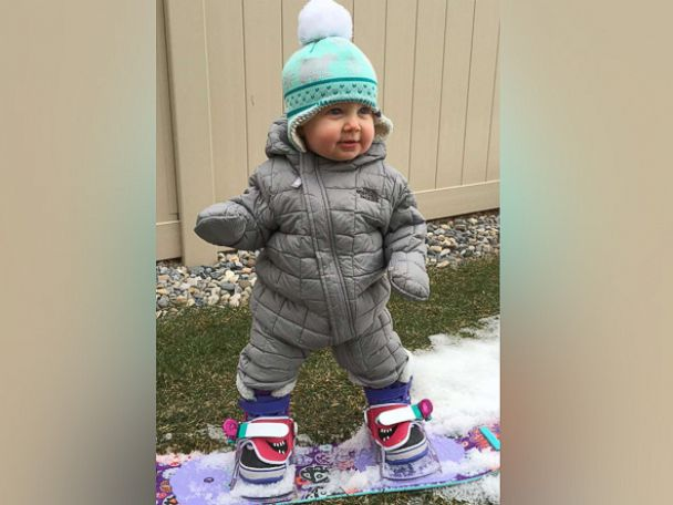 PHOTO: 14-month-old Sloan Henderson hit the slopes only a month after learning how to walk, and is already a natural on the board.