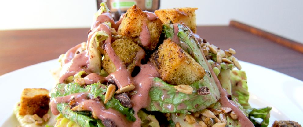 PHOTO: SaladShots Chocolate Chip dressing on a salad.