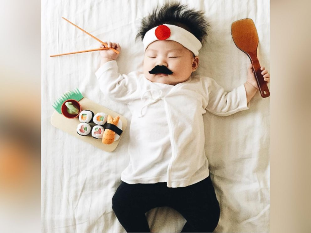 PHOTO: Photographer Laura Izumikawa dresses up her 4-month-old daughter while she takes naps.