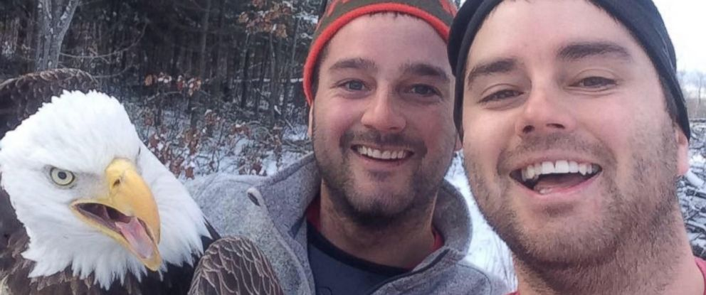 PHOTO: Michael Fletcher and his brother Neil were hunting in Ontario on Nov. 24, 2015 when they saw a bald eagle. After freeing it from a trap, they took a selfie to immortalize the moment.
