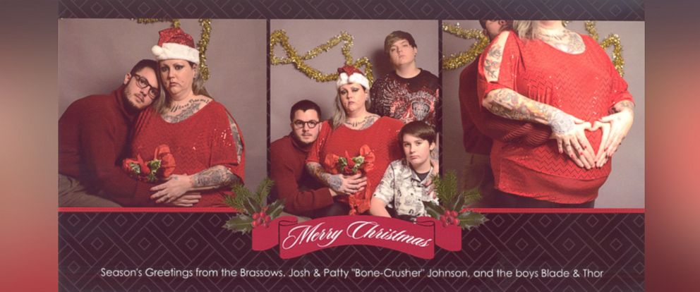 PHOTO: Josh Brassow, 25, poses with strangers for a Christmas card he staged to prank his family members.