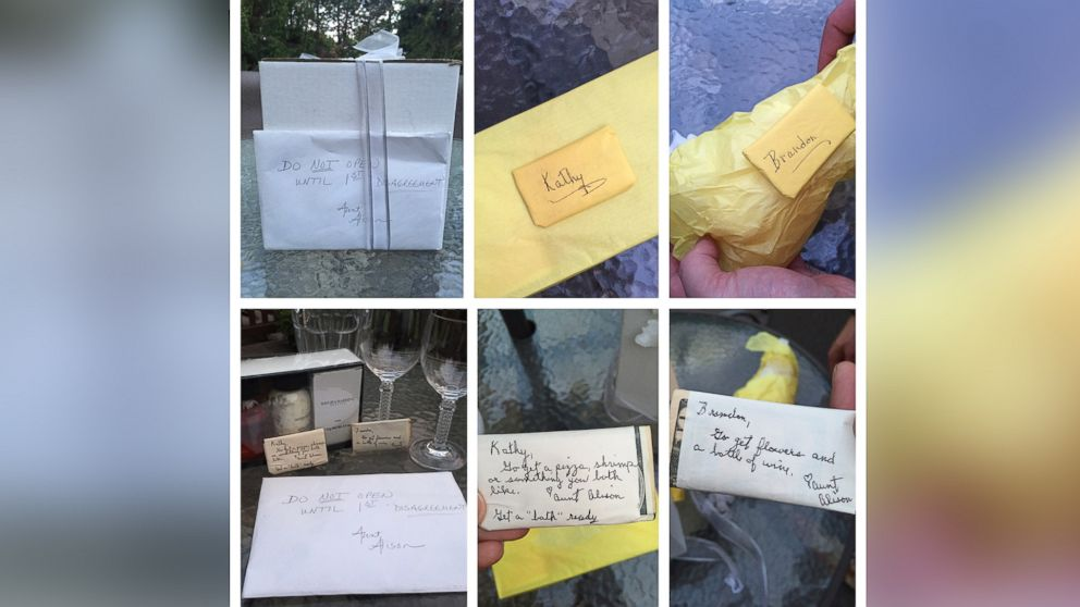 """Kathy and Brandon Gunn of Northville, Michigan waited 9 years to open a present that was given to them on their wedding day, September 1, 2007. The envelope attached to the white box read, """"Do Not Open Until 1st Disagreement."""""""