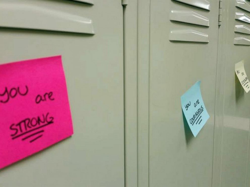PHOTO: Anna Aronson, Erica English, Michelle Crispin and Ellie Uematsu -- sophomores at Mason High School in Mason, Ohio, surprised around 3,600 of their fellow schoolmates with positive message sticky notes on their lockers on Aug. 30, 2016.