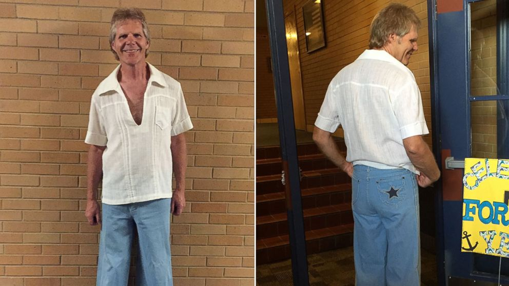 Roger Hepworth, 58, of Ogden, Utah, wore an outfit from high school to his 40th high school reunion.