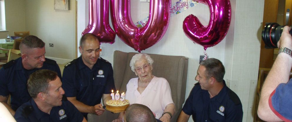 PHOTO: For her 105th birthday, Ivena Smailess wish to have firefighters climb through her window was granted.