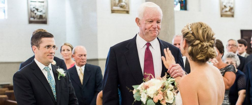 """PHOTO: Jeni and Paul Maenner married on August 6 in Swissvale, Pennsylvania. Jeni was escorted down the aisle by Arthur """"Tom"""" Thomas of New Jersey, who received her fathers donated heart in 2006."""