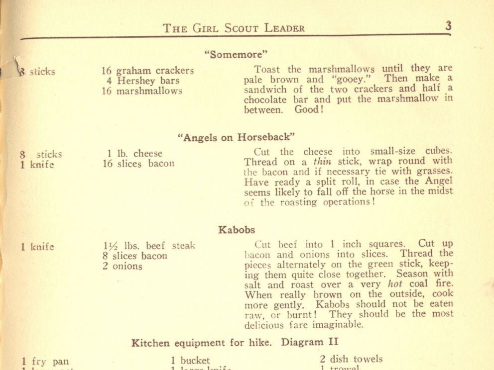 PHOTO: The Girl Scouts organization was one of the first to publish the iconic smores recipe under the name Some More in a 1925 issue of Girl Scout Leader magazine, and then as somemores in an official 1927 Girl Scout publication.
