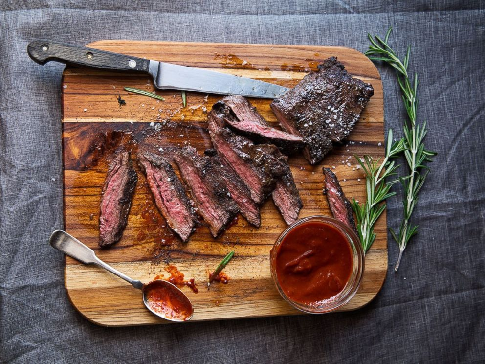 PHOTO: Mario Batalis Grilled Skirt Steak with Cherry Barbecue Sauce.