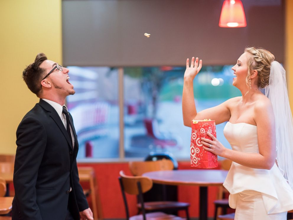 PHOTO: A West Virginia couple, Corey and Lauren Rexroad recreated their wedding photos inside their local Target to celebrate their anniversary.