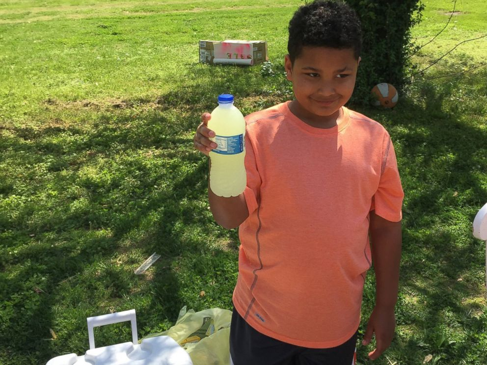 PHOTO: Tristan Jacobson, 9, set up a lemonade stand outside his home in Springfield, Missouri on April 22 and 23, 2016, to raise money to pay for the legal fees for his adoption. He raised approximately $6,500 over the two days.