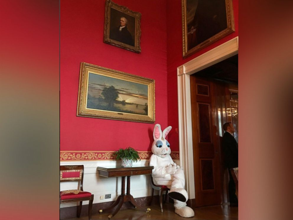 PHOTO: Pete Souza posted this photo to the White House Instagram account with the caption: Easter Bunny beneath portrait of Alexander Hamilton on March 28, 2016.