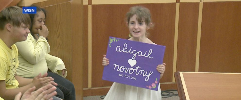 PHOTO: Abby Novotny, 10, was adopted by her foster mom, Anne Novotny, of Milwaukee, Wisconsin on Aug. 29, 2016.