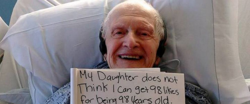 PHOTO: A photo of 97-year-old Alfred Birch has received more than 14,000 likes on Facebook.