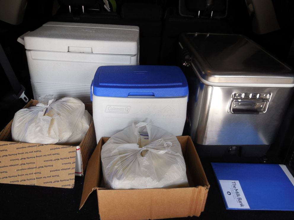 PHOTO: The back of Amy Bormanns car, stacked with breast milk, on the way to make a donation.