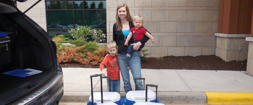 PHOTO: Amy Bormann donated over 3,000 ounces of breast milk to help babies in the NICU. She is pictured here with her sons Greyson, 1, and Garrett, 3.
