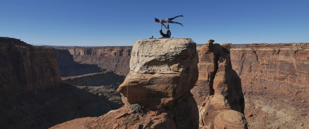PHOTO: Fitness company Trimr shot a video of athletes doing yoga on a cliff in Utah.