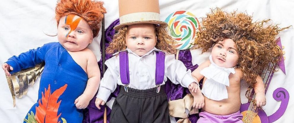 """PHOTO: Mom dresses up her """"Sweet PEA"""" triplets in epic DIY Halloween costumes."""