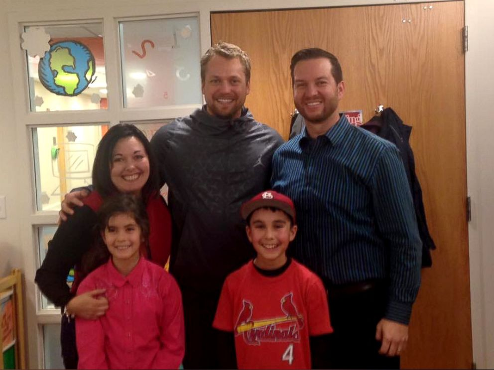 PHOTO: Ethan Cortez, 10, is seen here with his family and St. Louis Cardinals pitcher Trevor Rosenthal at the St. Louis Childrens Hospital in St. Louis, Missouri. The pitcher surprised Ethan at the hospital where he was being treated for a dog bite.