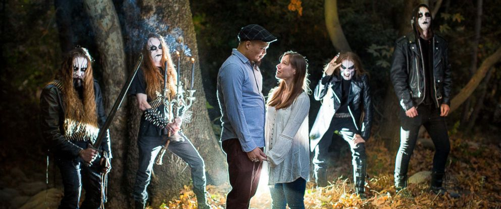 PHOTO: John Awesome and Nydia Hernandez ran into the black metal band, Coldvoid, as they were shooting their engagement photos.