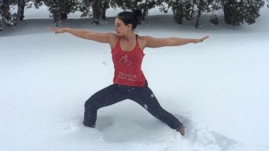 PHOTO: Founder of Studio B Power Yoga, Brittany Holtz, 27, is cashing in on yogas hot winter trend, snowga.