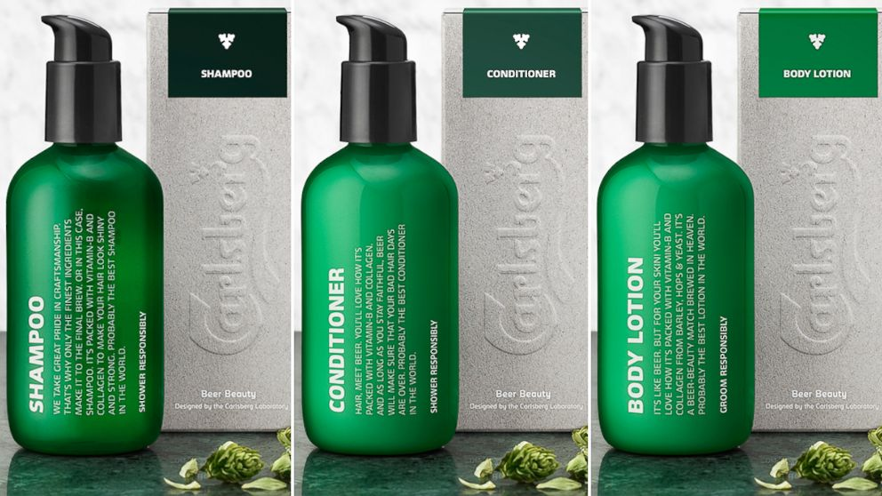 Carlsberg's shampoo, conditioner and body lotion.