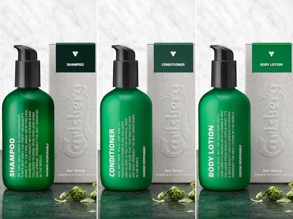 PHOTO: Carlsbergs shampoo, conditioner and body lotion.
