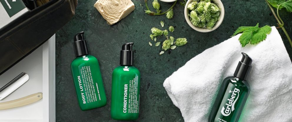 PHOTO: Carlsberg is debuting a line of mens beauty products made with its beer.