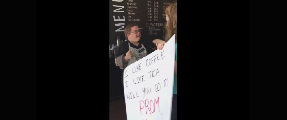 PHOTO: Lillie Wright, 17, surprised her friend and co-worker Trevor Jefferson, 21, at Beaus Coffee in Wilmington, North Carolina, on April 25 by asking him to prom with a cute coffee-themed poem written on a sign.
