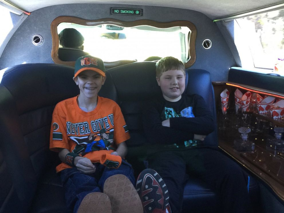 PHOTO:Colby pictured with his brother Colton, 8, on the way to WrestleMania.