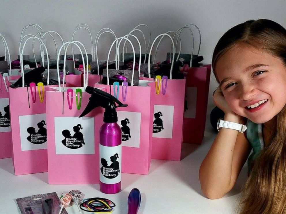 PHOTO: Emma Morgese poses in front of the Daddy Daughter Hair Factory goody bags.