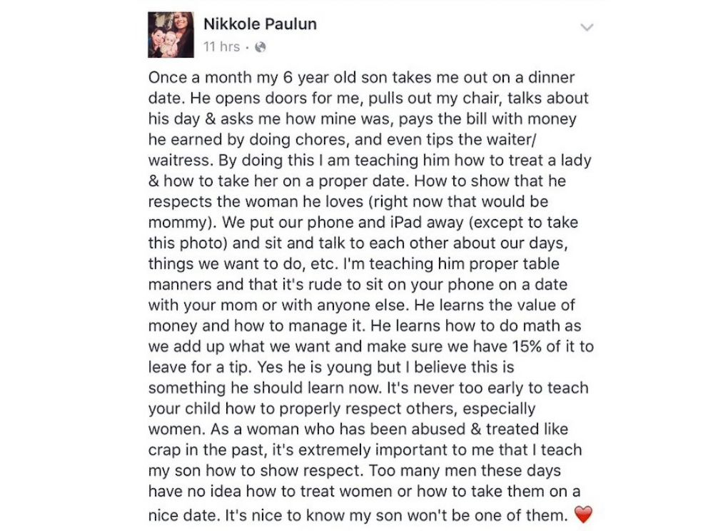 PHOTO: Teen Mom reality TV star Nikkole Paulun posted a message to Facebook about how her son saves up his allowance each month and takes his mom on a dinner date.