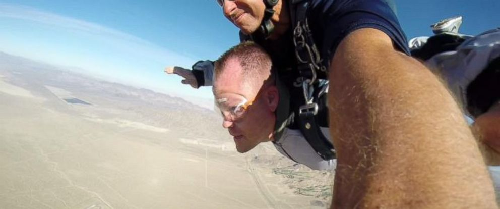 """PHOTO: Kenny Heuer went skydiving over Las Vegas for his """"divorce party."""""""